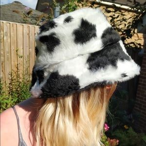 Fluffy Cow Print Bucket Hat